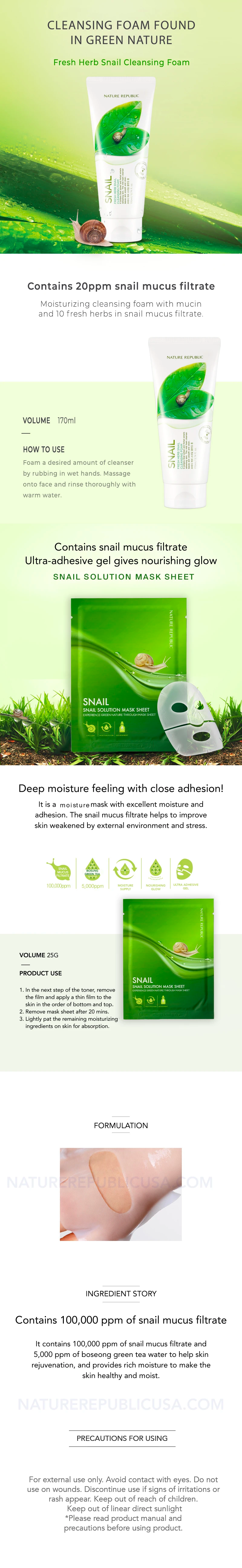 SNAIL STARTER SET - 1x FRESH HERB SNAIL CLEANSING FOAM + 10x SNAIL SOLUTION MASK SHEET