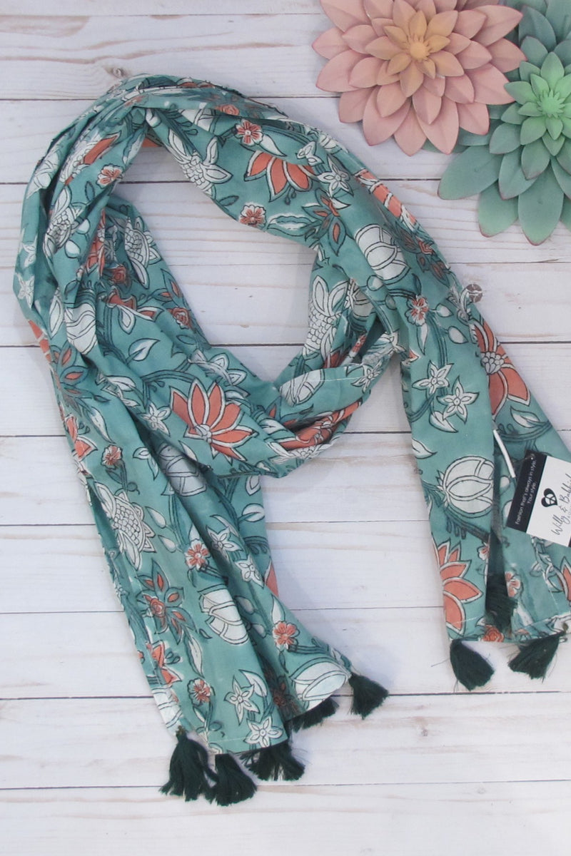 Turquoise Block Print Cotton Scarf *Clearance*