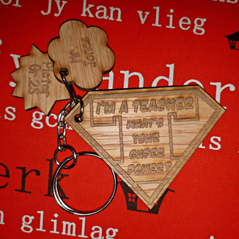 Teacher Superhero Keyring