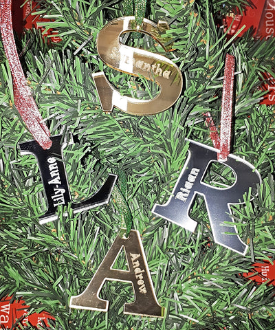 Acrylic Initial Name Christmas Tree Decoration