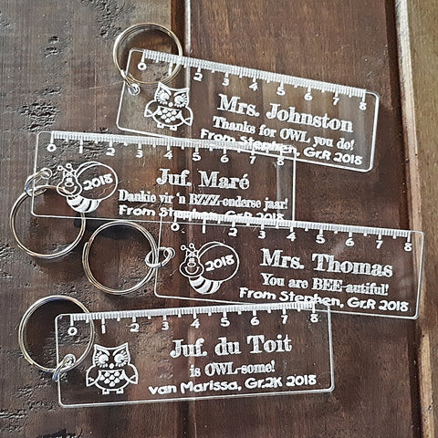 Teacher Ruler Personalized Keyring
