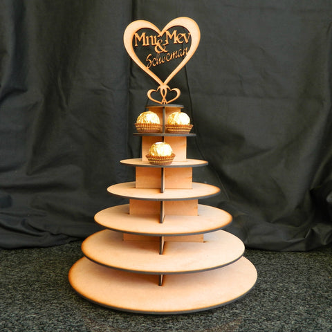 Cupcake Stand with Personalized Heart Topper