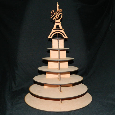 Cupcake Stand with Personalized Eiffel Tower Topper