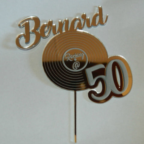 Rocking @ 50 Personalized Birthday Cake Topper