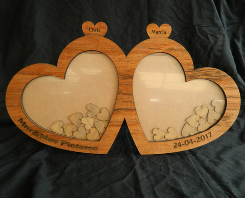 Heart Wedding Guestbook Dropbox Frame - Red Oak Veneer