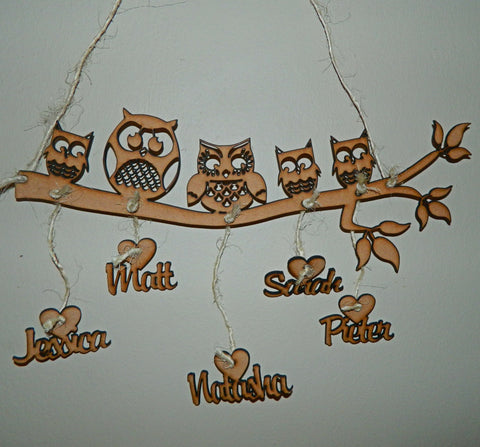 Owl Branch Personalized Wall Hanger