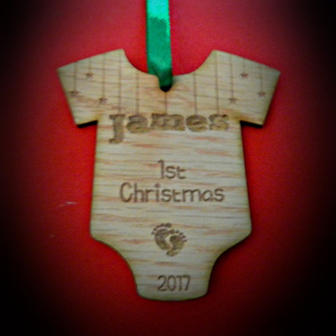 Christmas Decorations Baby's First Christmas Personalized with surname