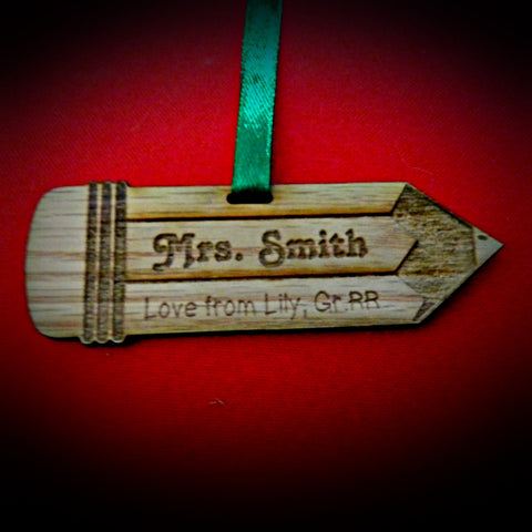 Christmas Decorations Teacher Pencil Personalized