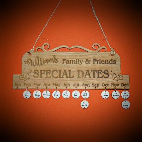 SALE - Family & Friend's Birthday Calendar Rustic Hanging Decoration