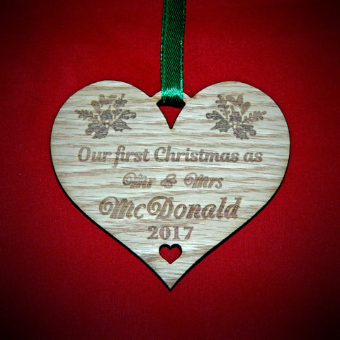 Christmas Decorations First Christmas Mr & Mrs Heart Personalized with surname