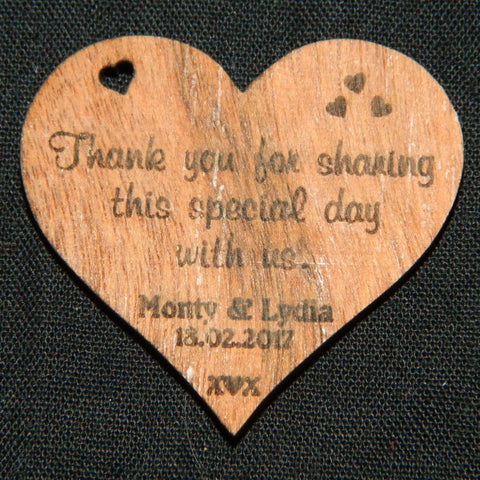 Heart Thank You Wedding Favours