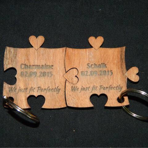 2x Heart Puzzle Keyring