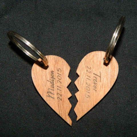 Wooden Broken Heart Keyring