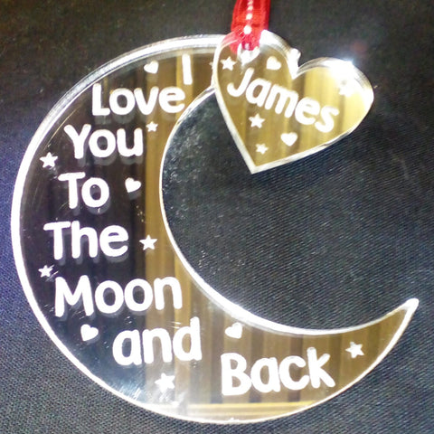 Love you to the Moon & Back Hanging Decoration - Mirror Acrylic