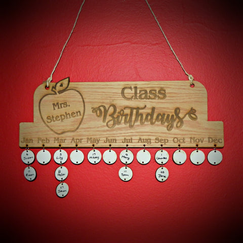 Teacher Class Birthday Calendar Rustic Hanging Decoration