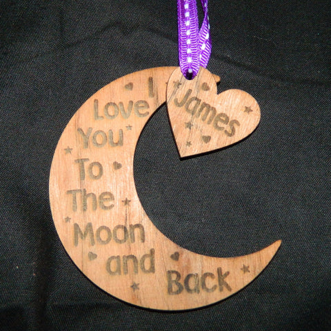 Love you to the Moon & Back Hanging Decoration - Red Oak Veneer
