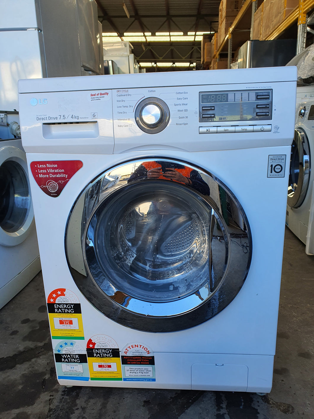 LG 7.5/4kg Washer Dryer Front Loader RRP$1,599 - DMS Appliances