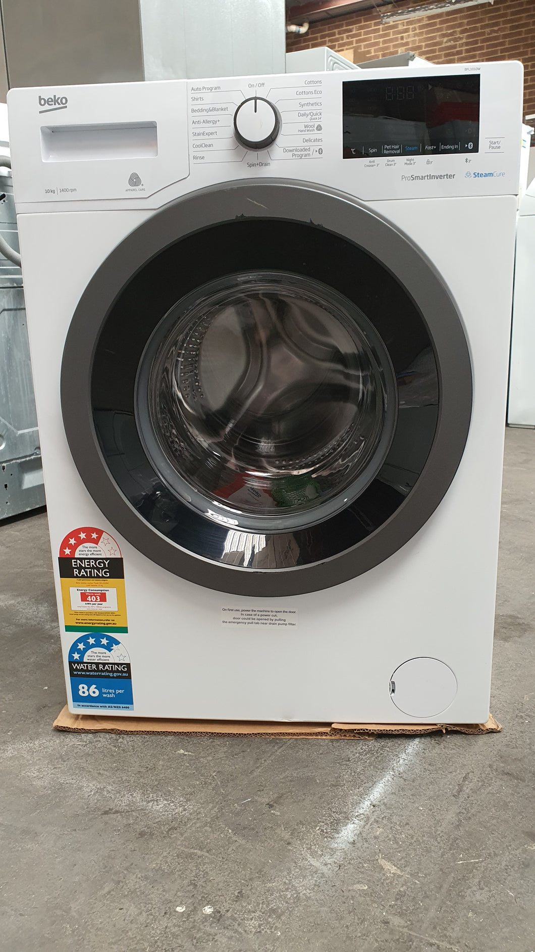 *Current Model* [Factory Second] Beko BFL1010W 10kg Front Loader with Bluetooth & Steam