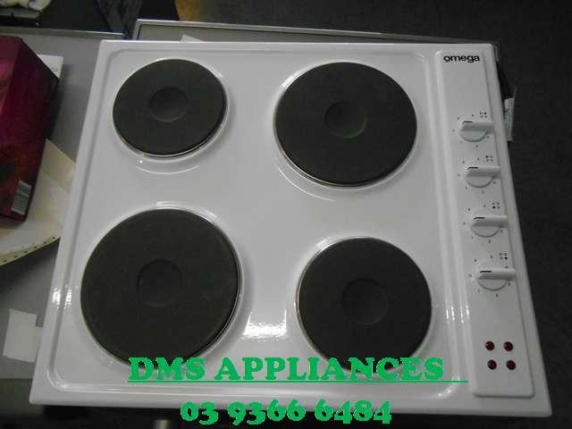 Omega 600mm White Electric Cooktop