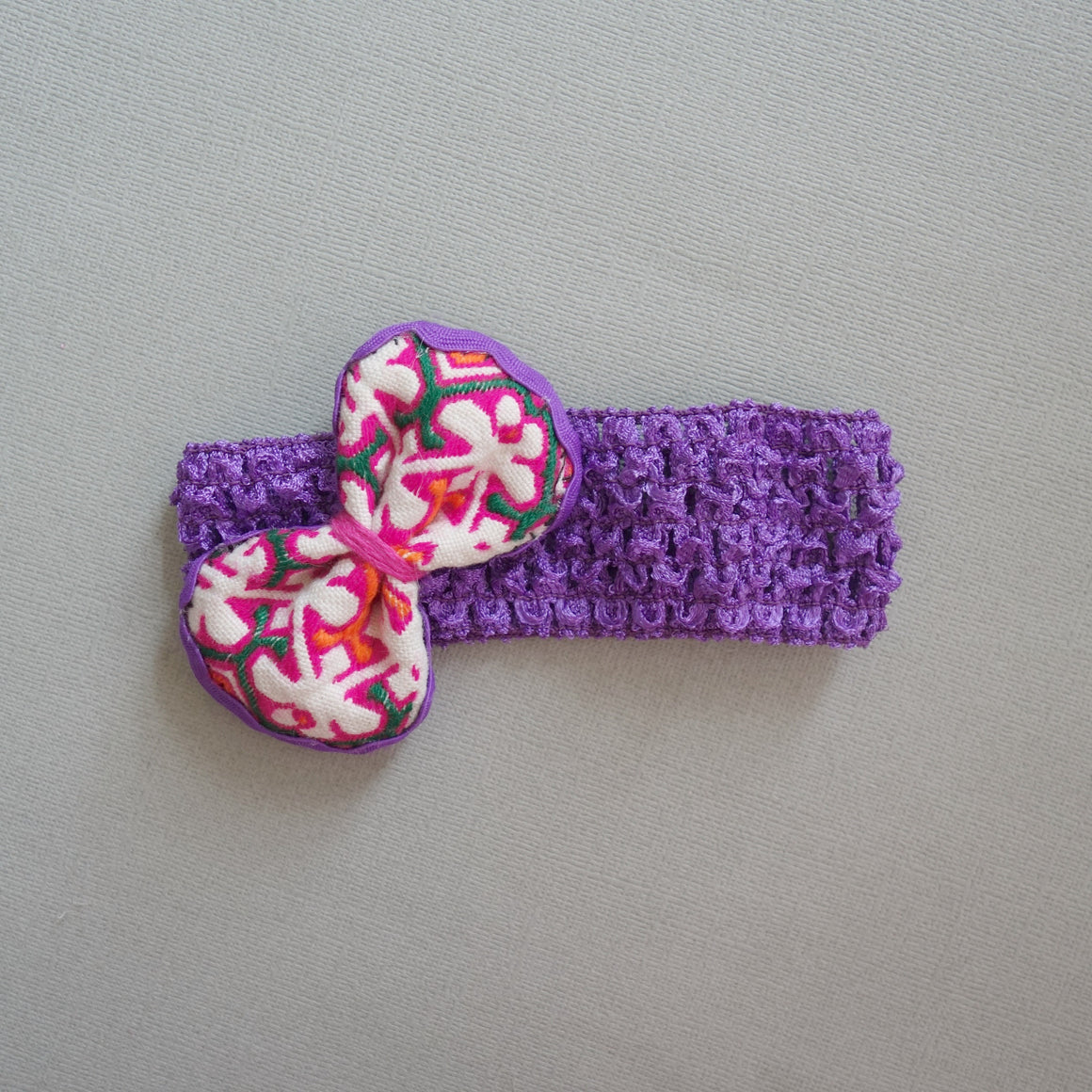 Purple Hot pink  hand embroidered baby Bow headband