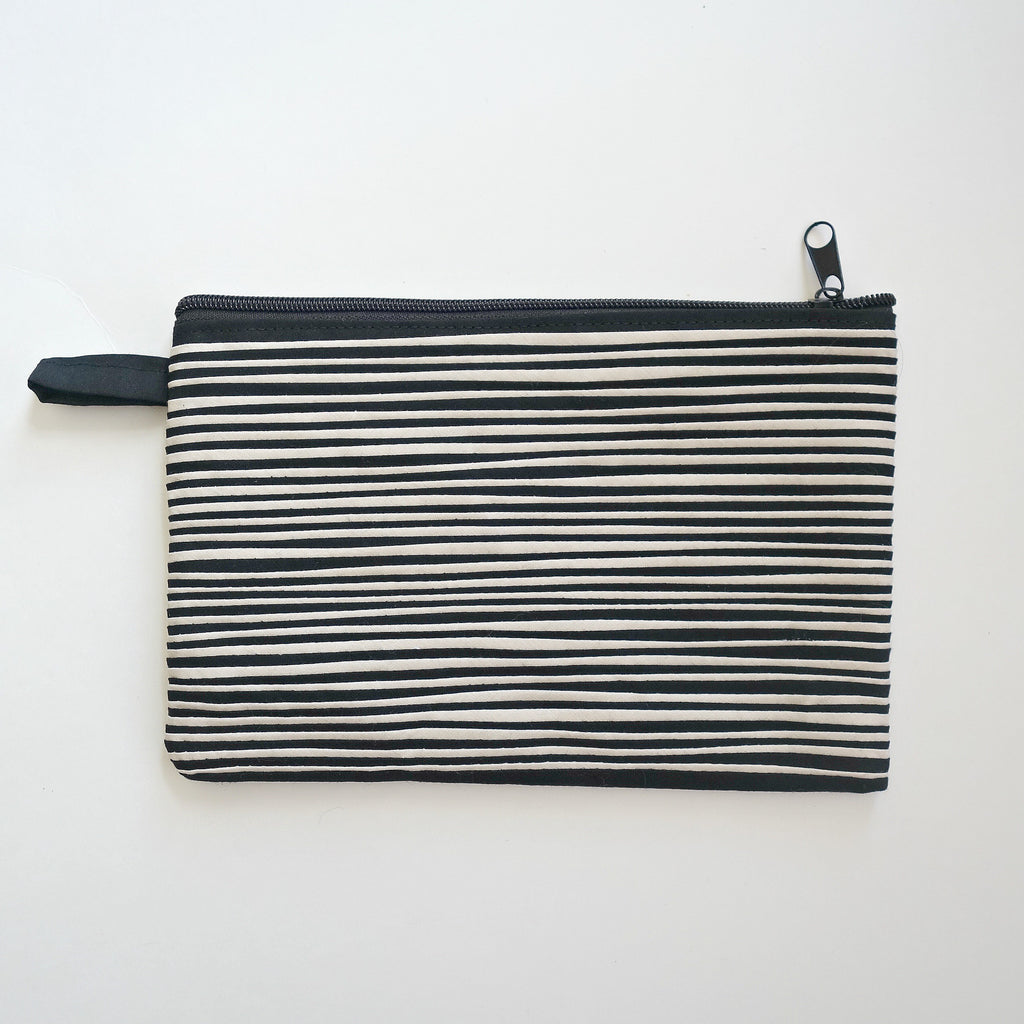Dynamic Black and White striped Clutch Purse.