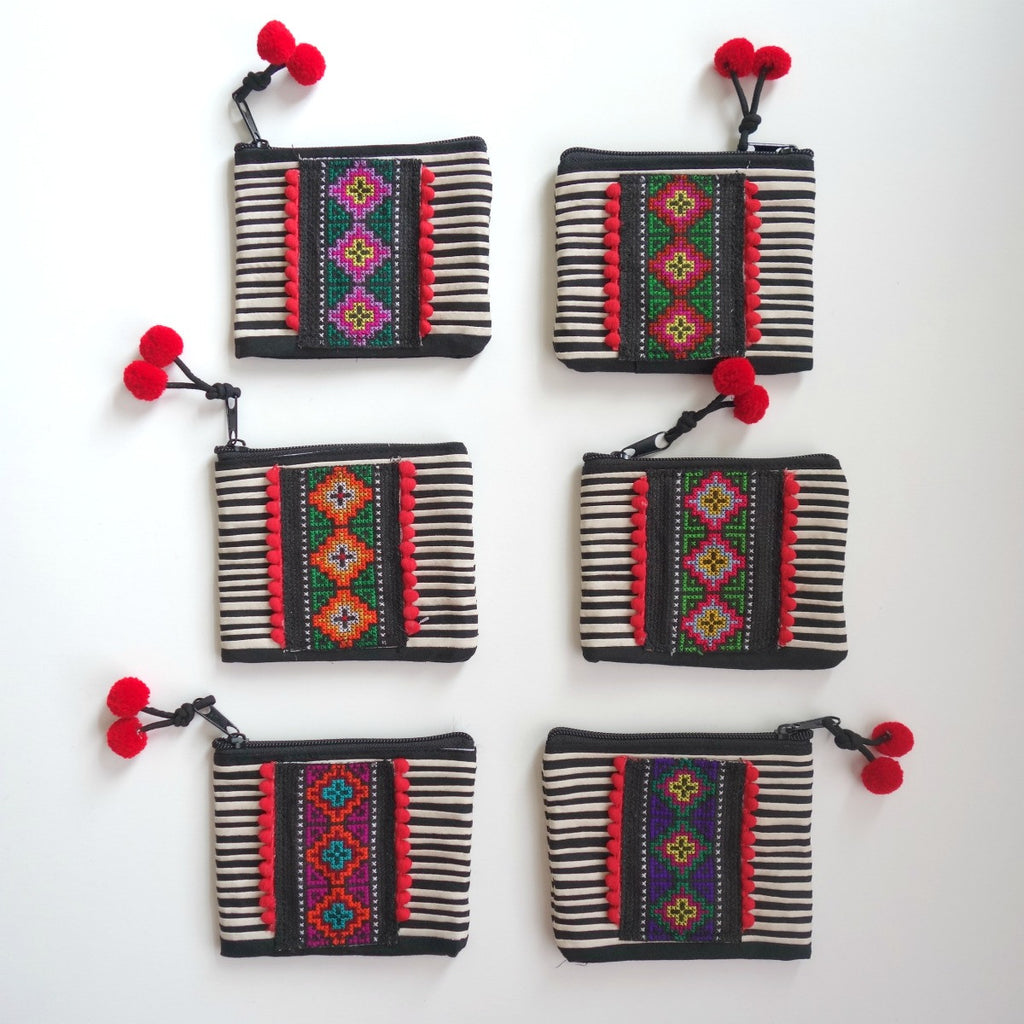 Hmong embroidery Black and White striped coin bag