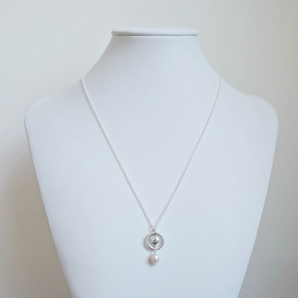 The Circle of Hope Silver necklace with Freshwater Pearl charm