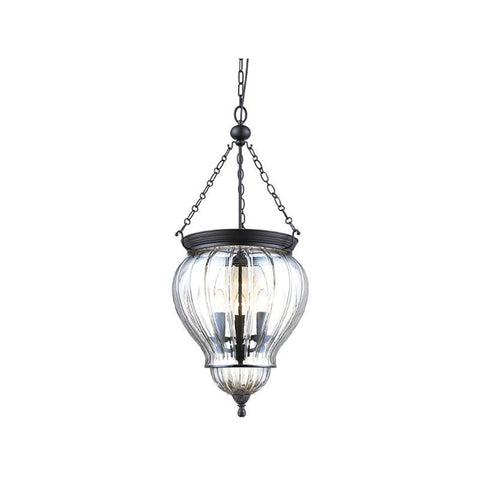 DIANA Lantern Black Pendant with Clear Glass 240V - 3 x E14