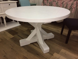 Country Cottage Trestle White Round Dining Table