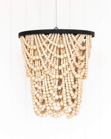 Beaded Chandelier - 40x42 - Amber Natural