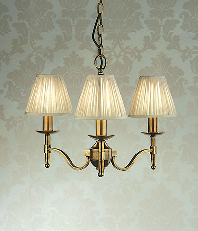 Stanford 3 light chandelier brass
