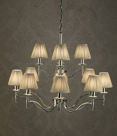 Stanford 12 light chandelier polished nickel