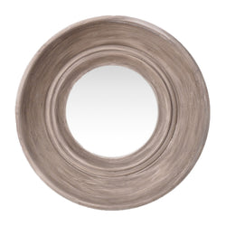 BEIGE WASH ROUND WOODEN MIRROR D39cm