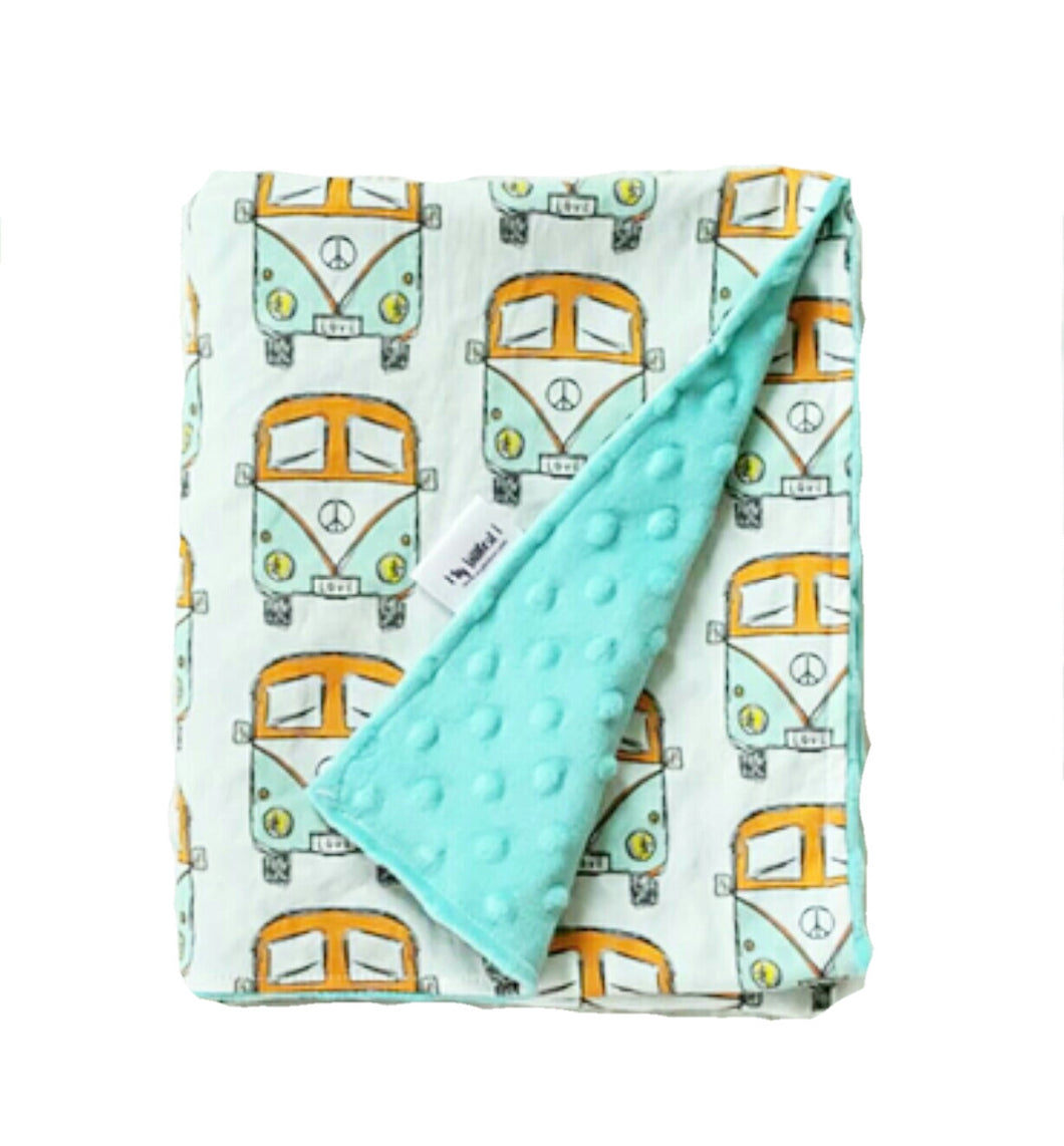 VW Bus Minky Blanket in Mint and Orange