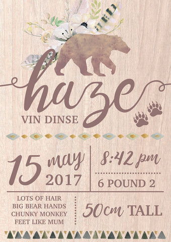 Boho Bear Birth Announcement