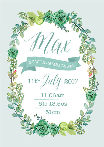 Botanical Birth Announcement