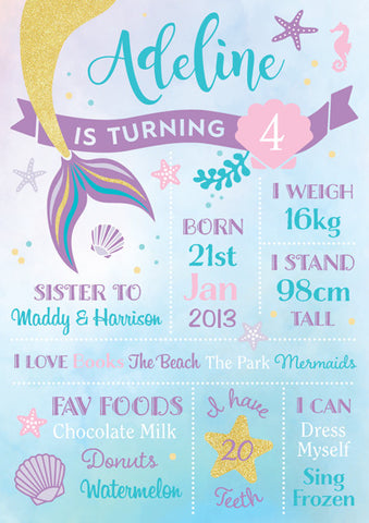 Mermaid Birthday Board