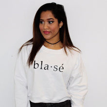 Blasé Crop Sweater White Ladies Marquee Noir