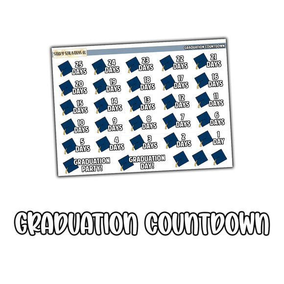 Graduation Countdown Stickers | Planner Stickers