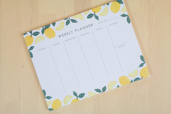 Lemon Themed Weekly Planner Pad