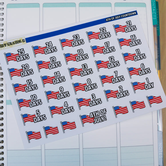 4th of July Countdown Stickers