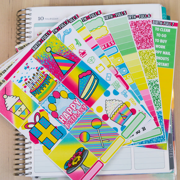 Birthday Full Sticker Kit | Planner Sticker Kit for Vertical Planners