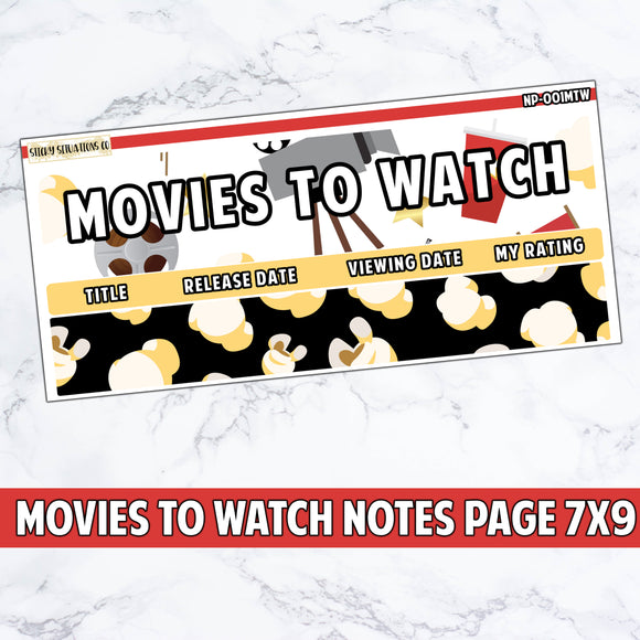 Movies to Watch Notes Page Sticker Kit ~ For Use With 7x 9 Planners