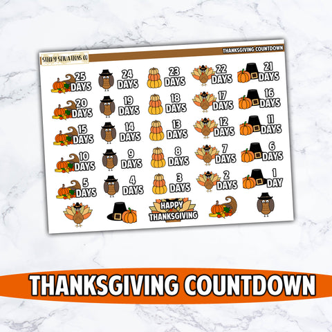 Thanksgiving Countdown Stickers
