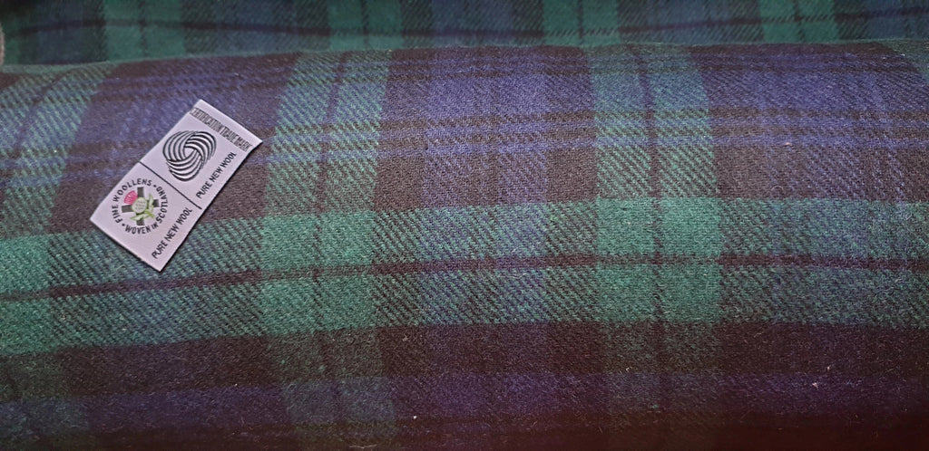 Scottish wool BLACK WATCH tartan tweed fabric,material 150 cm wide