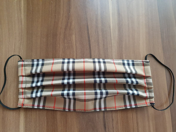 Burberry Nova check Fabric,Lined Face Mask, Washable. Made In The UK