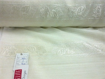 VOILE CURTAIN FABRICS-CREAM  -FLORAL PATTERN