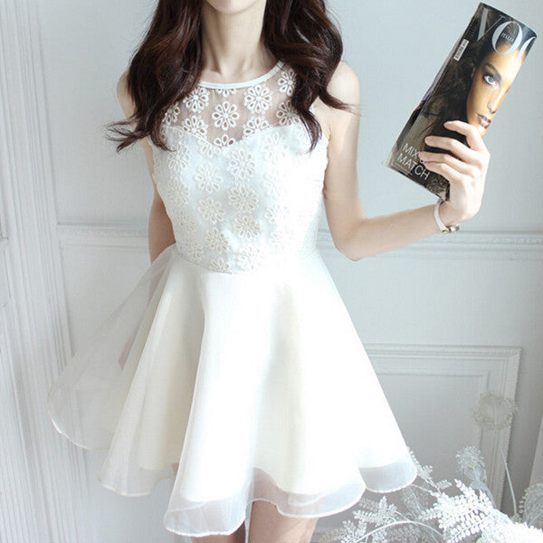 Fresh White Chiffon Dress