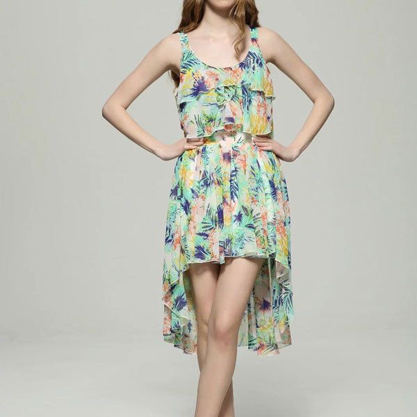 High Low Printed Summer Dress