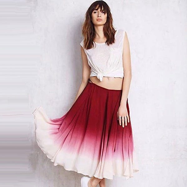 Pleated Red Ombré Dress